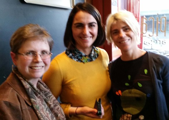 Photo of Gale (Celiac Safe Eats) with Nima sensor co-founder Shireen Yates and restaurant owner Adriana Lopez.